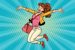 young woman jumping, lifestyle. Pop art retro comic book vector illustration