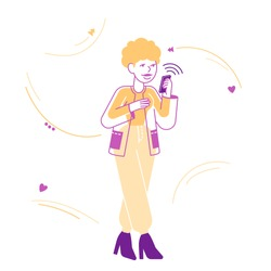 Young Woman Looking on Screen of Smartphone Reading Message or Browsing in Internet Networks. Mobile Phone Gadget Addiction, Cellphone Communication Concept. Cartoon Flat Vector Illustration, Line Art