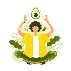 Young woman,lotus yoga pose meditate,avocado.Vector cartoon character illustration icon design. Isolated on white background.Eat healthy food,vegan woman slim body,well,vegetable,cartoon logo concept
