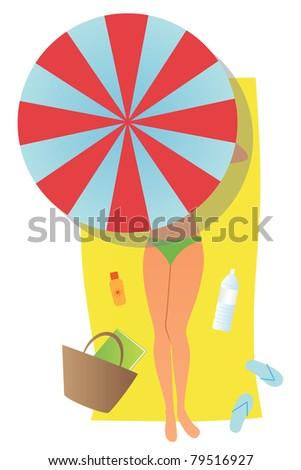 Young woman lying on a towel hiding in shadow of umbrella