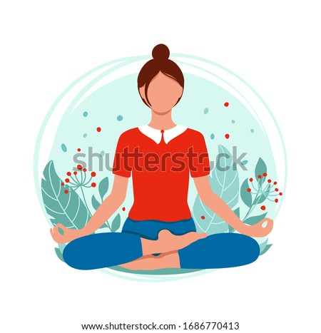 Young woman meditating and sitting in lotus on the natural background.  Concept illustration for yoga, meditation, relax and healthy lifestyle. Vector illustration in flat style Photo stock ©