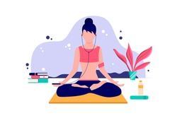 Young woman meditation listening music for yoga training cartoon vector illustration
