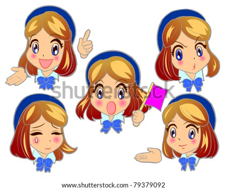 Young woman on the bus emotions guide - stock vector