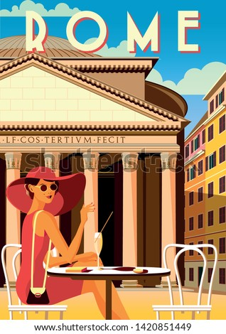Young woman on the square in front of the Pantheon in Rome. Handmade drawing vector illustration. Retro poster.