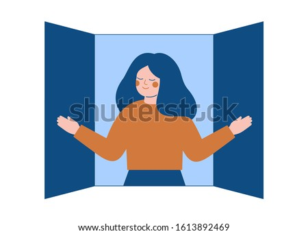 young woman opens the window