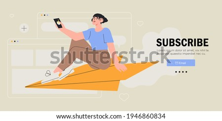 Young woman or female character sitting and flying on paper plane and sending message. Concept of email marketing, newsletter, news, offers, promotions subscription. Follow us on social media concept.