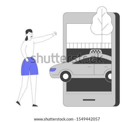Young Woman Ordering Taxi Driver Using Mobile Application on Smartphone. Customer Character Waiting Car Outdoors. Smart App for Auto Order by Phone City Life. Flat Vector Illustration, Line Art