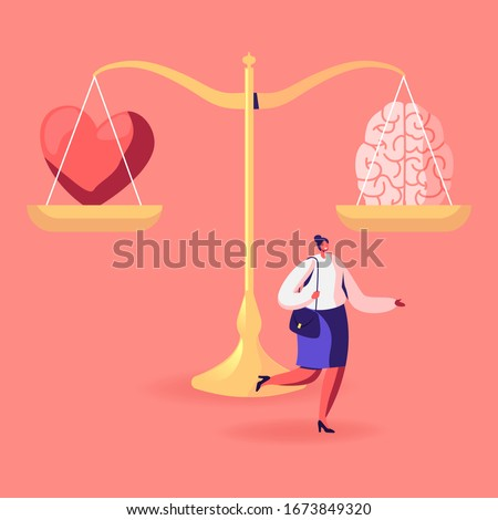 Young Woman Passing by Huge Scales with with Brain and Heart Choosing between Feelings and Mind, Career or Hobby, Love or Work. Female Character Making Life Decision. Cartoon Vector Illustration Foto stock ©