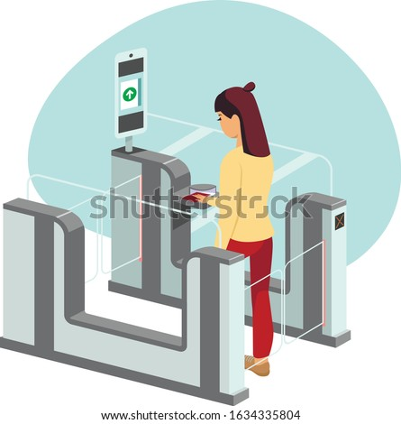 Young woman passing through automated passport border control gates flat vector illustration Photo stock ©