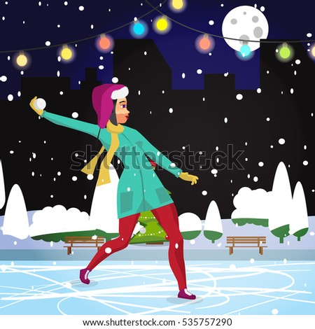 Stock Photo Young woman playing in the snowballs at night on the street in winter. Flat cartoon vector illustration