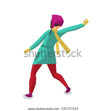 Stock Photo Young woman playing in the snowballs on the street in winter. Back view. Flat vector illustration isolated on white background