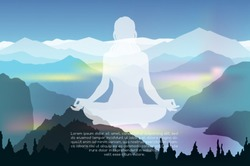 Young woman practicing meditation in a lotus posture with mountain landscape background vector illustration
