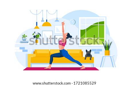 Young woman practicing yoga exercise on the mat at home. Warrior pose. A dog lies on a couch. Concept living room with sofa, plants, girl, lamps, person indoor activity. Flat vector illustration.