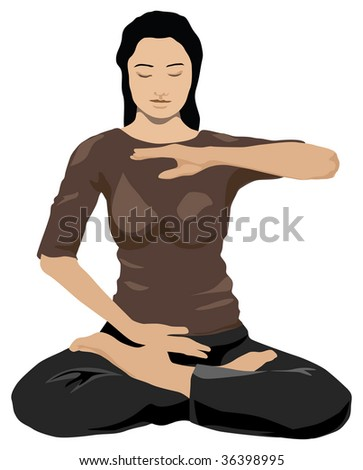 young woman practicing yoga in lotus pose color