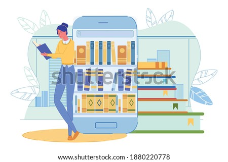 Young Woman Reading Book. Girl Student Standing by Huge Smartphone with Bookshelf. Online Library and Digital Bookstore. E-Learning and E-Book. Electronic Lib Resource. Vector Illustration Stockfoto ©