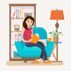 Young woman reading book on chair at home. Flat style vector illustration.