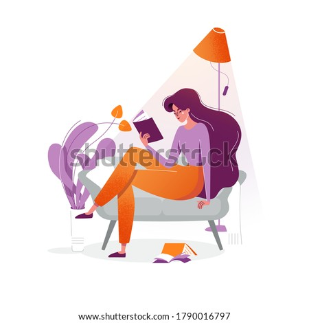 Young woman reads a book on couch at cosy home. The girl sitting on the sofa, reading a book and resting. Female daily lifestyle vector illustration. Character in modern flat art style for your design