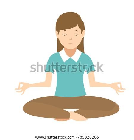young woman relaxing doing yoga