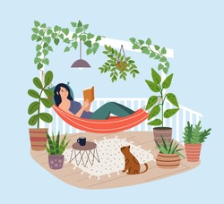 Young woman relaxing in hammock on the  terrace. Girl reading book on the balcony. Home garden and cute exterior design. Modern illustration.