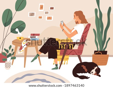 Young woman resting in comfy armchair with mobile phone, surfing internet and chatting online. Happy female character relaxing and using smartphone at home. Colored flat vector illustration