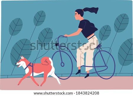 Young woman riding bicycle in park with dog on leash. Female character spending time together with domestic animal outdoors. Scene of active recreation with pet. Flat vector cartoon illustration Foto stock ©