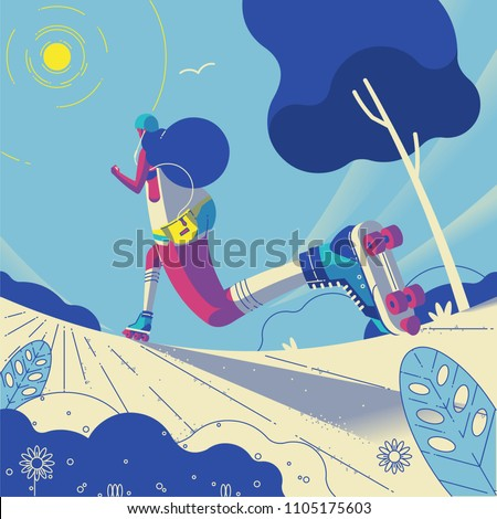 young woman roller blading in the park, perspective illustration