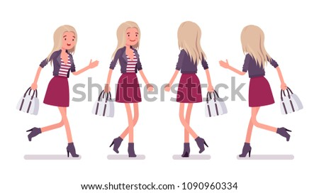young woman running and walking