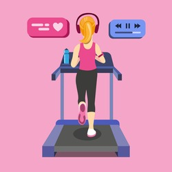 young woman running on treadmill. from back view with modern sport equipment, sports water bottle. Cartoon Flat Vector illustration.