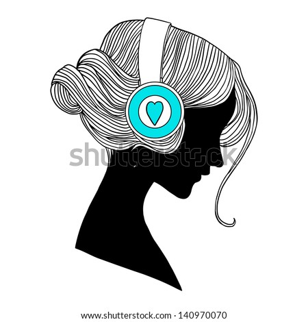 young woman's head with