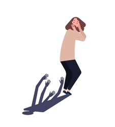 Young woman scared of her shadow. Lady suffering from persecutory delusion, phobia, fear of past, paranoid or delusional disorder. Psychiatric diagnosis. Flat cartoon colorful vector illustration.