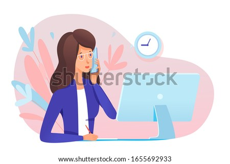 Young woman secretary answering call. Professional specialist talking phone sit at table front of computer monitor. Office workflow. Conversation with client, partner. Vector illustration