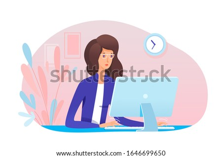 Young woman secretary working at computer in office. Girl assistant typing on keyboard sit at desk. Specialist sitting at table. Workflow process. Business administration. Vector illustration