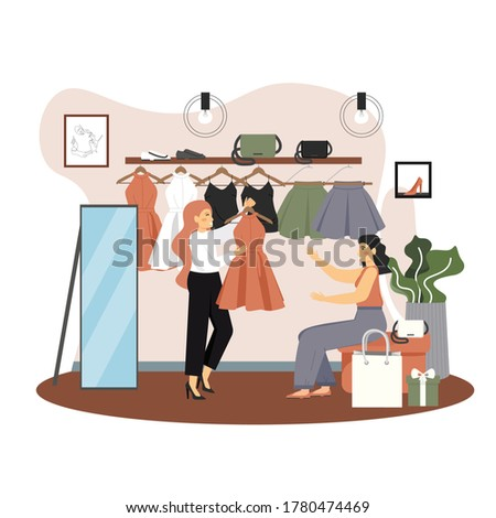 Young woman shopping for clothes in fashion boutique, vector flat illustration. Women clothing store interior with dresses, skirts, bags, shoes on sale, saleswoman proposing red dress for customer.
