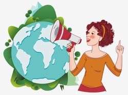 Young Woman Shouting Into Megaphone. World map background
