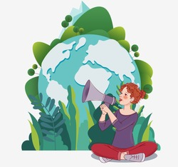 Young woman shouting on the megaphone. World map background