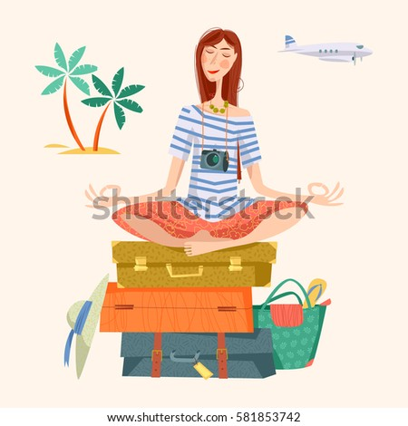 Young woman sits on a stack of suitcases in a yoga lotus pose and meditates. Travel concept. Vector illustration.