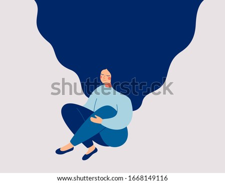 Young woman sits on floor, meditating and performing breath control exercise. Girl with flying hair practices self-mindfulness. Flat cartoon vector illustration.