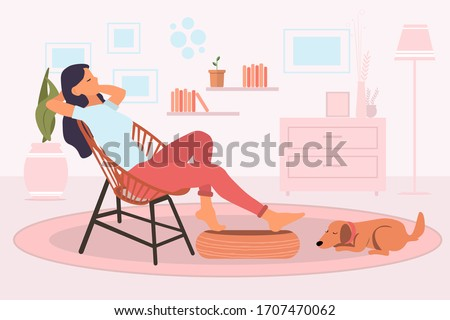 Young woman sitting and relaxing on a retro chair in her living room at home and cute dog sleeping on the floor next to a girl feet. Resting at home concept. Vector illustration flat style
