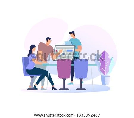 Young Woman Sitting at Desk With Computer and her Colleague Pointing to Screen and Give Advice Isolated on White Background. Man Use Tablet. Online Education People. Cartoon Flat Vector Illustration