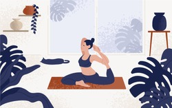 Young woman sitting in yoga posture and meditating. Girl performing aerobics exercise and morning meditation at home. Physical and spiritual practice. Vector illustration in flat cartoon style.