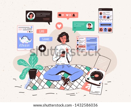 Young woman sitting on floor at home, holding smartphone and chatting in messenger or social network. Internet communication, online instant messaging or information exchange. illustration.