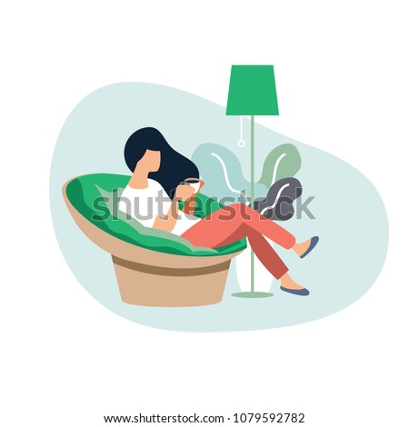 Young woman sitting on modern chair  relaxing in her living room drinking coffee or tea,.Vector illustration cartoon character