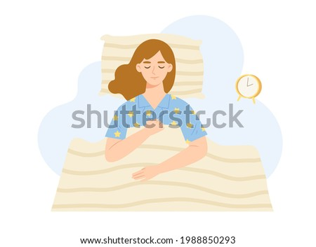 Young woman sleeping on the bed. Female lying on comfortable bed. Concept of healthy sleeping, resting, relaxation, good dream, sleep well, bed time, get enough sleep. Flat vector illustration.