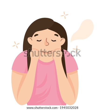 Young Woman Slumbering or Drowsing with Hand Reclined Upon His Head Vector Illustration Stock photo ©