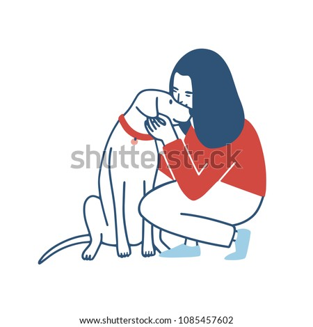 Young woman squatted down, hugs and kisses her dog. Funny girl embracing her domestic animal. Happy female cartoon character cuddling with her pet isolated on white background. Vector illustration