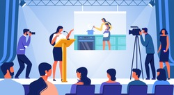 Young Woman Stand on Stage with Big Audience and Cameraman with Speech about Life of Housekeepers and how to Become Businesswoman. Female Power, Career, Independence Cartoon Flat Vector Illustration