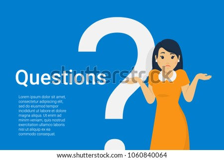 Young woman standing near big question symbol and she needs to ask help or advice via live chat, help desk or faq. Flat concept vector illustration of online support on blue background Stockfoto ©