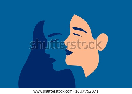 Young woman suffering from bipolar disorder, psychological diseases, schizophrenia. Happy young woman with and her ghostly sad twin behind.  Concept of Bipolar disorder. Flat vector illustration.