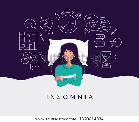 Young woman suffers from insomnia cause of mental problems, insomniac ideas. Girl lying in bed, thinking about deadline, upset event, can not relax. Character vector illustration in flat cartoon style
