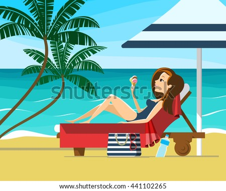 young woman sunbathing on a